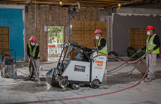 Fume Free Electric Concrete Sawing in progress.